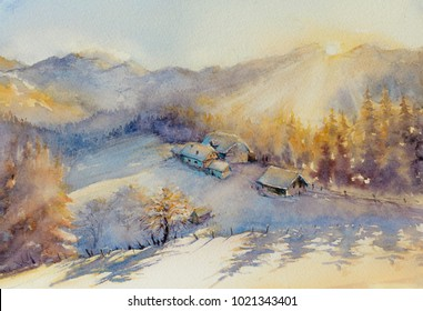 Watercolors oryginal painting of winter mountain landscape and farm covered with snow.