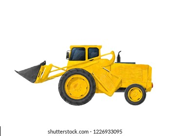 Watercolorstyle drawing of a  hydraulic wheel loader