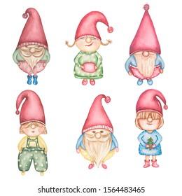 Watercolot set of christmas gnomes.scandinavian winter elf.