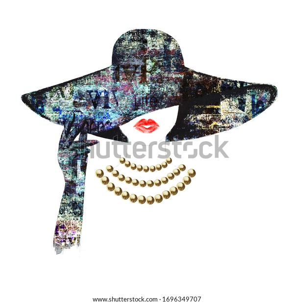Watercolour beautiful woman with red lips, gold beads necklace, glove and hat with newspaper print isolated on white background. Watercolor hand drawn portrait. Beauty, accessories, fashion concept.