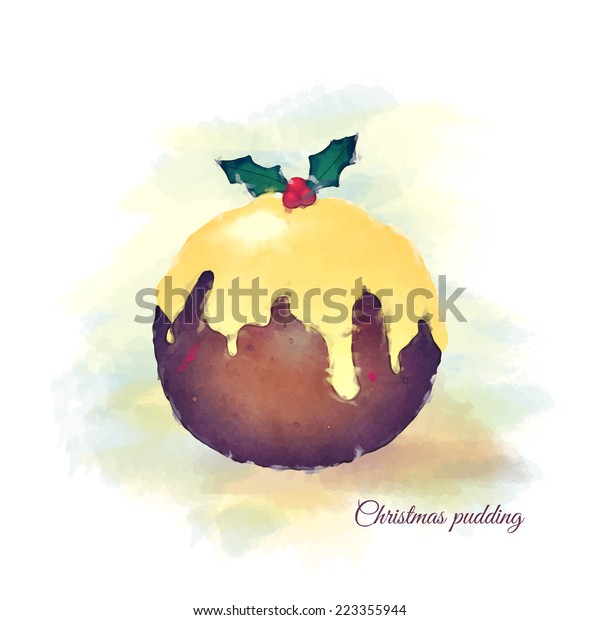 Watercolour of a Christmas pudding, topped with brandy butter and a sprig of holly.