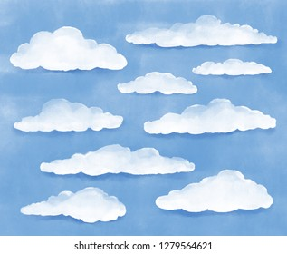 Watercolour Clouds. Blue