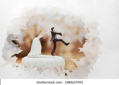 watercolour concept groom doll and statue is running away but bride can catch him finally. the funny wedding story doll on the top of cake.