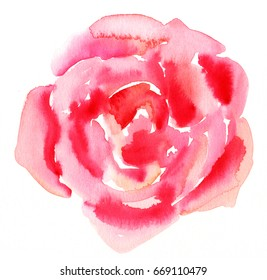 A watercolour drawing of an abstract vibrant red rose flower. Decorative element for a greeting card or wedding invitation