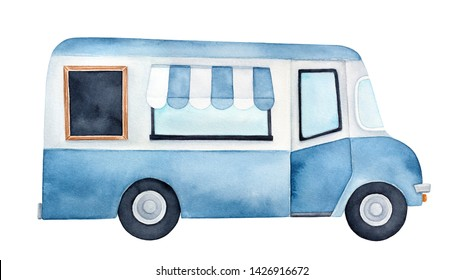 Watercolour drawing of colorful ice cream truck with service window, striped awning, blank wood framed chalkboard. Handdrawn water color graphic painting on white, cutout clipart element for design.