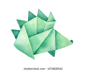 Watercolour drawing of green Origami Hedgehog. Sign of defense, vitality, curiosity. Handdrawn water color sketchy painting on white background, cutout clipart element for creative design decoration.