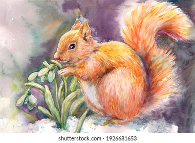 Watercolour drawing on a spring theme with a squirrel next to snowdrops that look out from under the snow