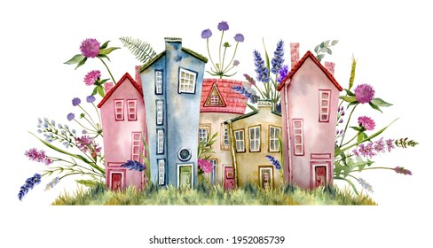 Watercolour fairy street with cute little houses, lavender flowers, clover, eucalyptus leaves, ferns and field grasses. A delicate, hand-drawn illustration. For the design of greeting cards