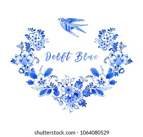 Watercolour floral border, Delft blue style. Neck line design with a room for text. Traditional Dutch motif with frame of flowers and a swallow, cobalt on white background. Wallpaper. Template.