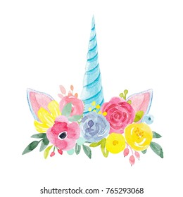 watercolour floral print, delicate flowers, yellow, blue and pink flowers, greeting card template. blue unicorn horn and ears