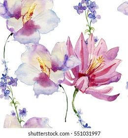 Watercolour Flowers. Seamless background.