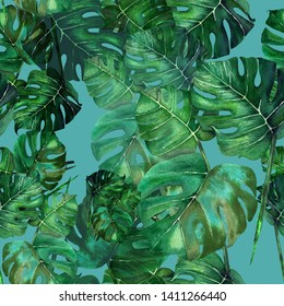 Watercolour green tropical leaves of Monstera. Seamless repeating pattern.