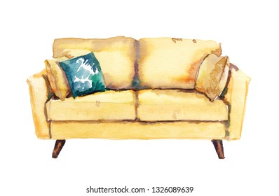 Watercolour hand painted home interior furniture yellow cozy sofa illustration on white background