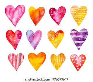 Watercolour hearts collection. Violet, purple, red, yellow, gold, orange, magenta, lilac, mauve, maroon, blue, pink, rose colors. Hand painted water colour illustration, isolated, white background.
