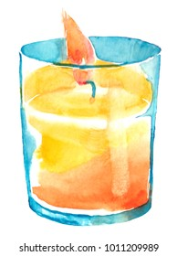 Watercolour home yellow candle cozy fire winter evenings hugge
