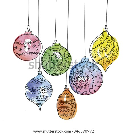 watercolour illustration of christmas ball decoration bauble decorations hand made sketch and paint image - Christmas Ball Decorations