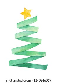 Watercolour illustration of green ribbon folded as cute Christmas tree with little one golden star on top. Hand painted water color drawing on white, cutout clip art element for design, prints, decor.