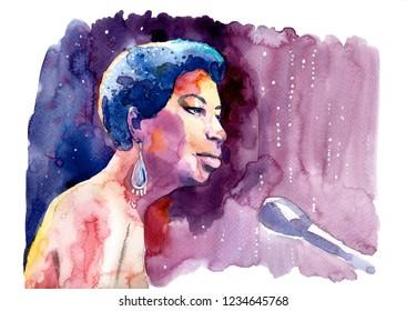 Watercolour illustration of Nina Simone plays piano