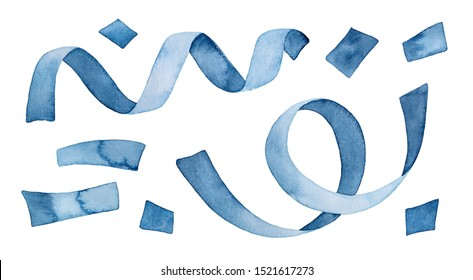 Watercolour illustration pack of blue confetti and celebration streamer tape. Hand drawn water color sketchy painting on white background, isolated clipart elements for creative design decoration.