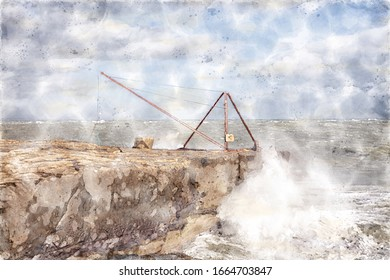 Watercolour image of a fisherman's crane at Portland Bill on Dorset's Jurassic Coast in south-west England.