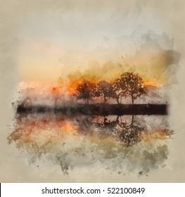 Watercolour image of Stunning foggy Autumn  sunrise English countryside landscape image