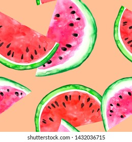 Watercolour Juicy watermelon seamless pattern. Hand painted slice of fresh ripe fruit on peach pink background. Healthy eco food print for textile, wrapping, packaging. Summer illustration.