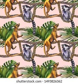 Watercolour lemurs on a rope tropical wildlife seamless pattern. Hand Drawn jungle nature, lemur, hibiscus flowers illustration