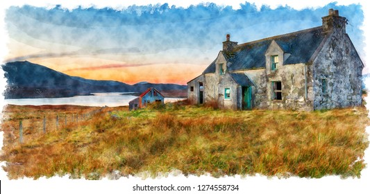 Watercolour painting of an abandoned cottage at Airidh a Bhruaich on the shores of Loch Seaforth on the Isle of Lewis in the Outer Hebrides of Scotland