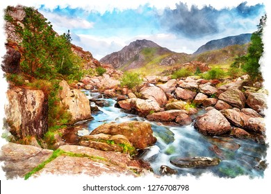 Watercolour painting of Afon Ogwen as it cascades over rocks in the Ogwen valley with Mount Tryfan in the background