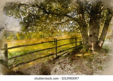 Watercolour painting of Beautiful English countryside landscape in Autumn