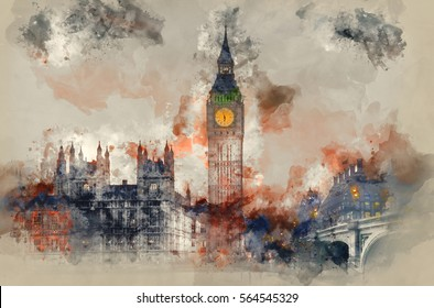 Watercolour painting of Big Ben and Houses of Parliament during Winter sunset.