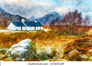 Watercolour painting of Blackrock cottage after a dusting of snow at Glencoe in the highlands of Scotland