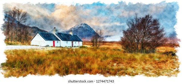 Watercolour painting of Blackrock cottage at Glencoe in the Highlands of Scotland