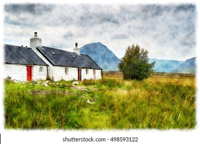 A watercolour painting of Blackrock Cottage at Glencoe in the Scottish Highlands
