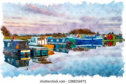 Watercolour painting of boats on the Forth and Clyde Canal at Falkirk in Scotland