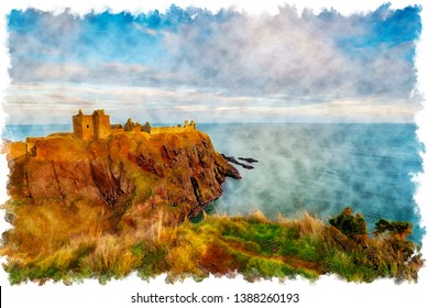 Watercolour painting of Dunnottar Castle at Stonehaven on the Aberdeenshire coast in Scotland