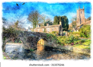 Watercolour painting of an English village with a bridge and church