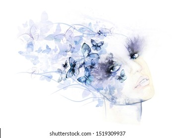 A watercolour painting of a female face with butterflies, in lilac and blue on a white background.