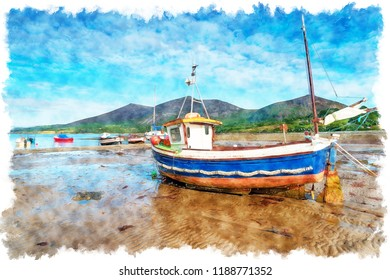 Watercolour painting of a fishing boat on the beach at Trefor on the Llyn Peninsula in North Wales