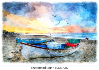Watercolour painting of fishing boats on the beach at sunrise on Bournemouth beach