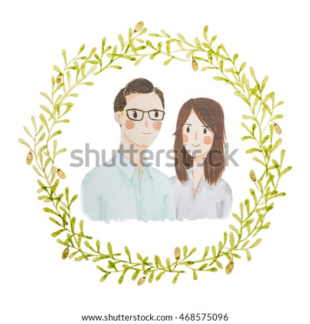 Watercolour Painting Happy Love Couple Portrait Stock Illustration ...