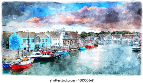 A watercolour painting of the harbour at Weymouth on the Dorset coast