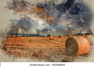 Watercolour painting image of Lovely sunset golden hour landscape of hay bales in field in English countryside