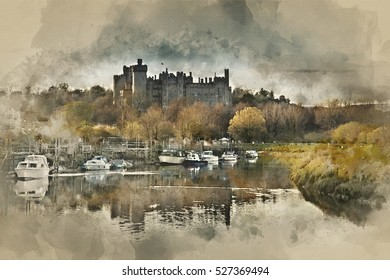 Watercolour painting of Landscape image of medieval Castle viewed across River at sunset.