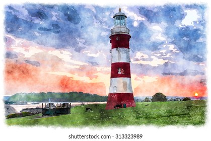 Watercolour painting of the lighthouse at the Hoe in Plymouth, Devon