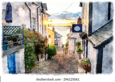 Watercolour painting of narrow cobbled streets lined with cottages on a steep hill at Clovelly on the Devon coast