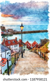 Watercolour painting of night fall over Whitby on the North Yorkshire coast, from the 199 Steps leading down to the harbour
