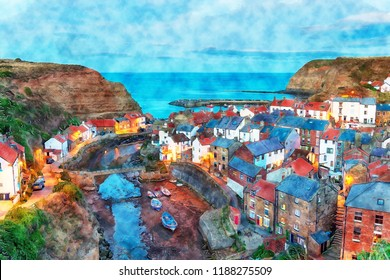 Watercolour painting of nightfall over Staithes, a pretty fishing village on the Yorkshire coast