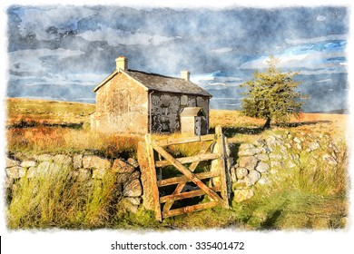 Watercolour painting of an old farm house in an isolated spot near Princetown on Dartmoor National Park in Devon
