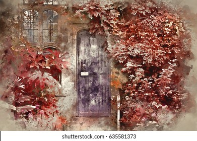 Watercolour painting of Old wooden door of stone brick house with alternate surreal colored landscape